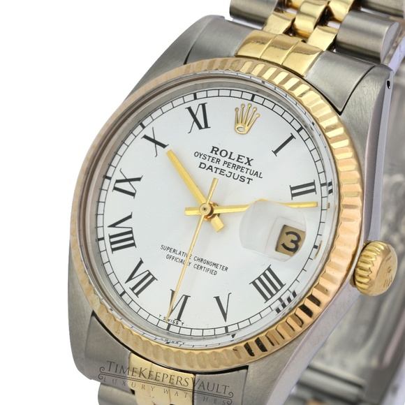 Rolex Other - Rolex Mens Datejust White Roman Dial Fluted Bezel